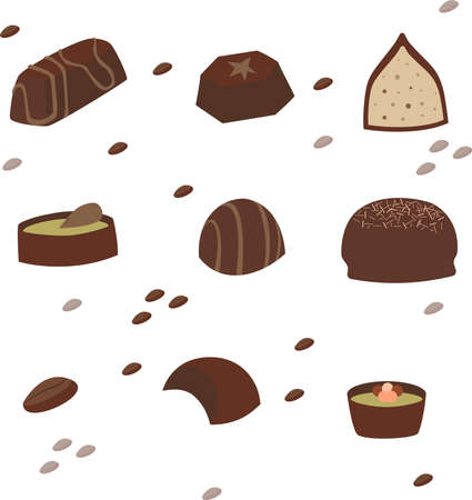 Set of chocolate candies with filling.  イラスト・ベクター素材