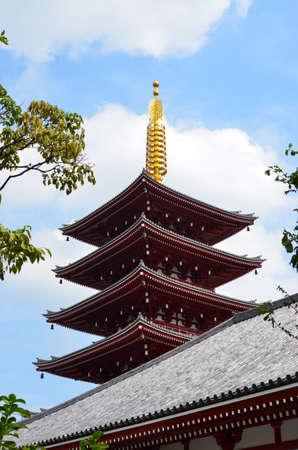 Tower in the courtyard of the Asakusa temple complex.