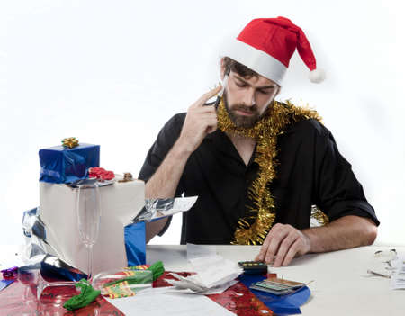 Man in Santa had budgeting after his Xmas spending Stock Photo - 6219841