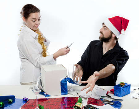 Couple having argument about Christmas Spending photo