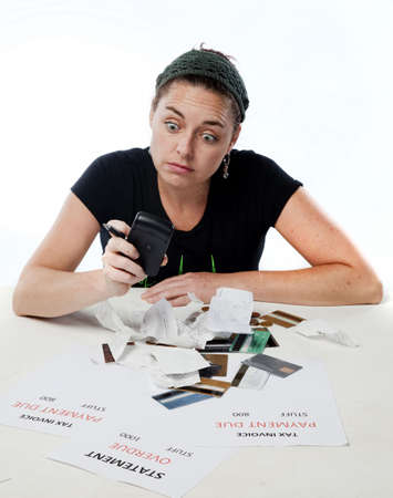Frustrated woman shocked worried about her budget