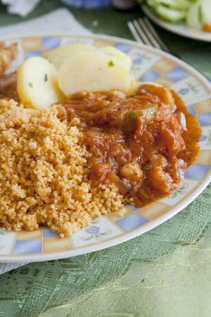 Libyan meat stew with couscous Stock Photo