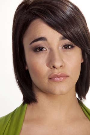 Closeup on sad brunette