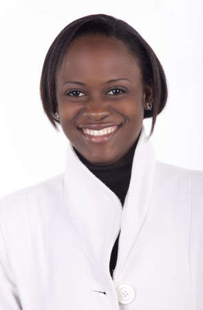 Smiling young South African woman on a white background with winter