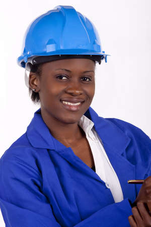 quantity surveyor: Young industrial worker with a big smile  Stock Photo