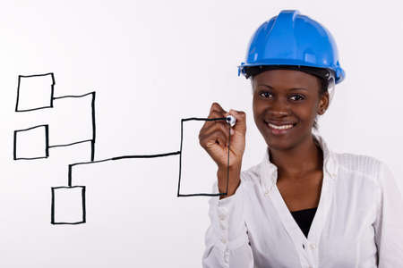 Copyspace image of woman with hard-hat making a drawing