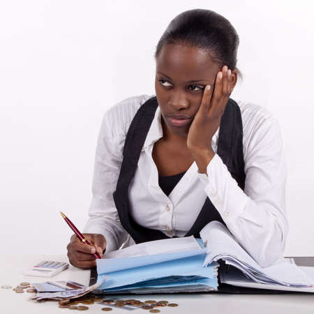 Young woman doing administrative work. Stock Photo - 13277756