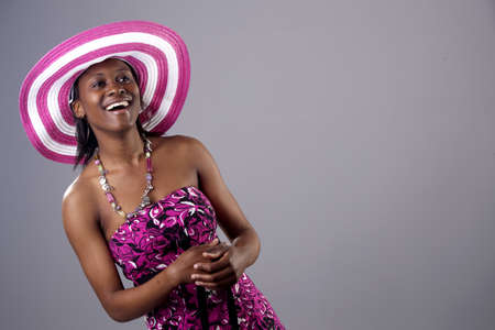 mirth: Beautiful young South African woman in bright colours
