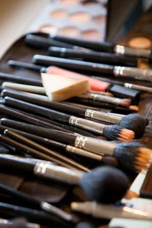 make up artist: Closeup on a make-up artist s cosmetics Stock Photo