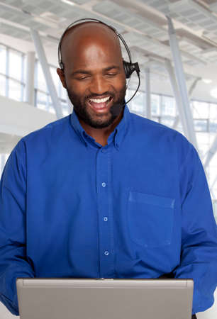 computer centres: South African Customer service agent helping a client