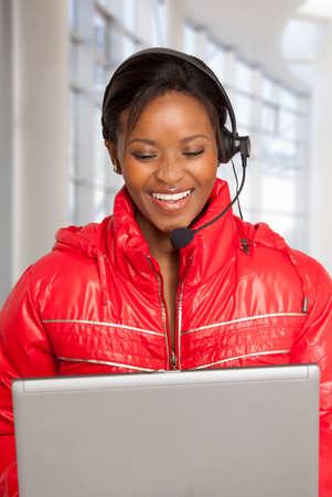 computer centres: Happy Call Centre Woman Stock Photo