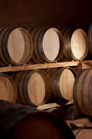Barrel Cellar in a winery Stock Photo