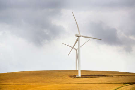 Wind power farm installation in South Africa generating electricity Stock Photo