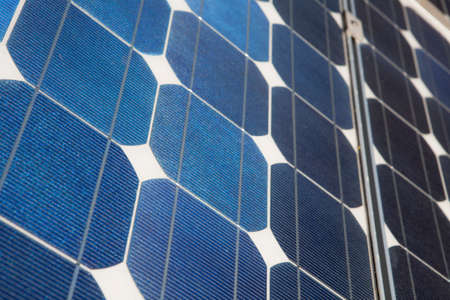 A closeup of photovoltaic cells in a solar panel Stock Photo