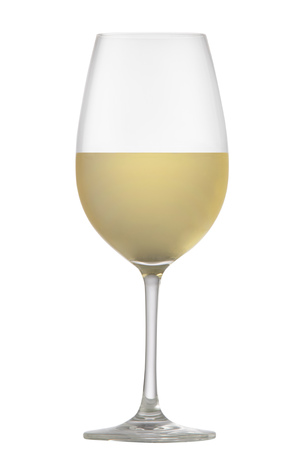 White wine a glass on a white background Stock Photo
