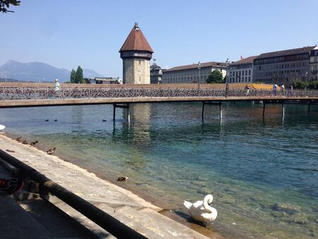 View on the Kapellbridge in Lucerne Stock Photo