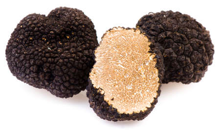 Black truffles on a white background