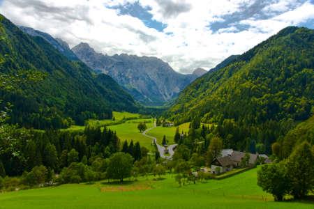 Idillio Alpi valle Archivio Fotografico