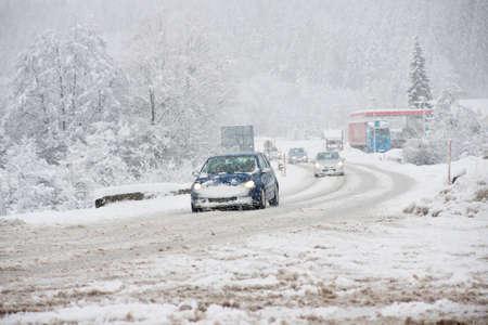 Winter Driving in Snow Stockfoto