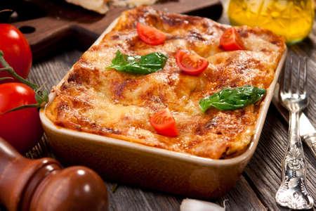 restaurante italiano: Lasagna Foto de archivo