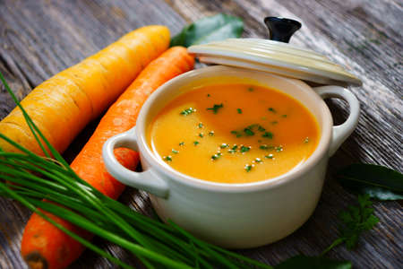 vegetable soup: Carrot soup   Stock Photo