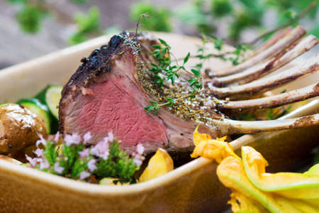 rack of lamb: Grilled Rack of Lamb chops with potatoes an vegetables   Stock Photo