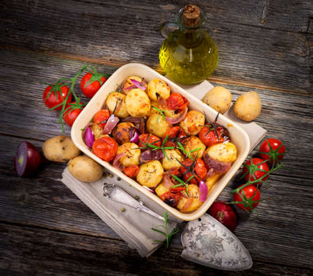 Balsamic Roasted Potatoes   Tomatoes