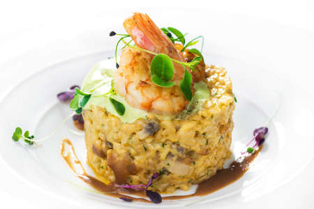 Risotto with shrimps and mushroom  photo