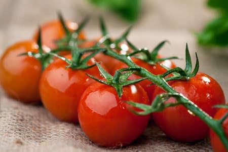 tomate cerise: tomate cerise  Banque d'images