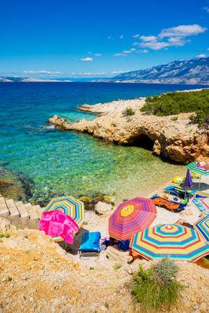 Beach scene in Pag, Adriatic sea Stock Photo