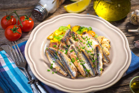 fish dinner: Grilled anchovy