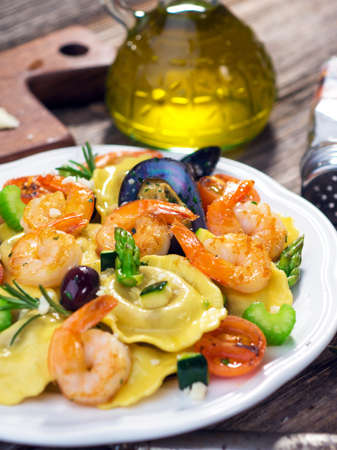 Ravioli with seafood photo