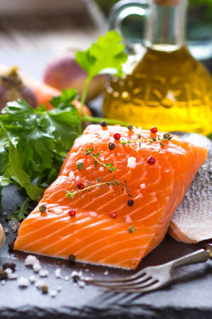 salmon fillet: Fresh salmon fillet Stock Photo