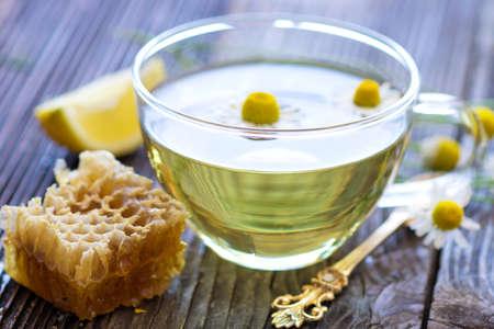 chamomile tea: Chamomile tea with chamomile flowers Stock Photo