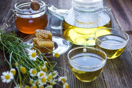 Chamomile tea with chamomile flowers Stock Photo