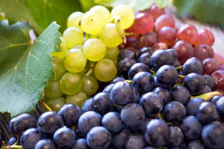 uvas: Uvas en una mesa de madera