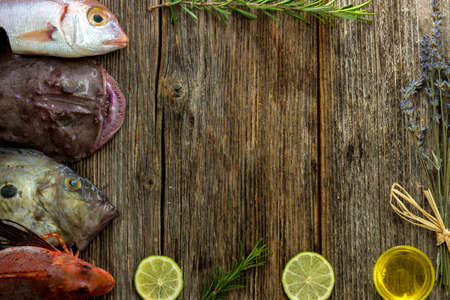 stuff fish: Food background with Fish and Lots of copy space