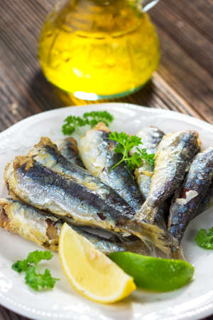 seafish: Sardines with lemon and olive oil Stock Photo