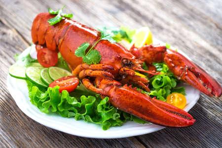 gourmet dinner: A delicious freshly boiled lobster