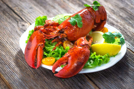 lobster dinner: A delicious freshly boiled lobster