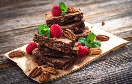 brownies: Brownies on wooden background