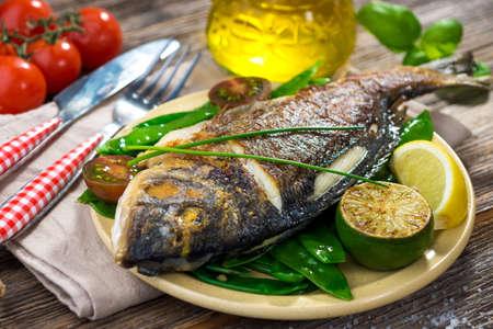 sea bream: Grilled sea bream fish