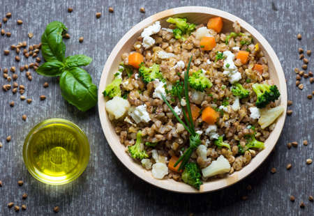 Buckwheat with vegetables and feta cheese