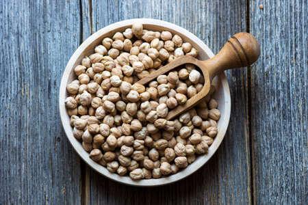 garbanzo bean: Grains of raw chickpeas