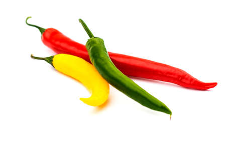 food label: Hot chilli pepper  set isolated on white background. Red, yellow and green.