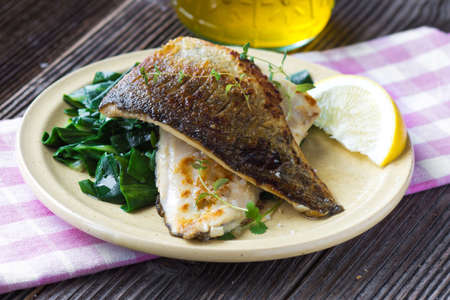 Fish dish -  fish fillet with chard Фото со стока - 52595351