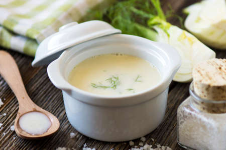 Creamy fennel soup with fresh herbs