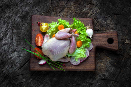 autumn food: Raw quails