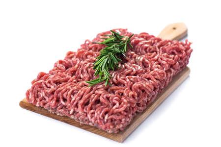 La carne tritata isolato su sfondo bianco Archivio Fotografico
