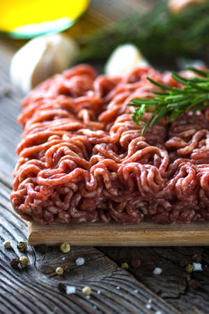 minced meat: Minced Meat on  wooden background Stock Photo